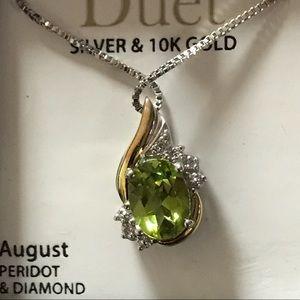 """Natural Peridot & Diamond in 925  & YGold 20"""" long"""